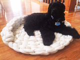 Oval Dog Bed, Chunky Merino Wool