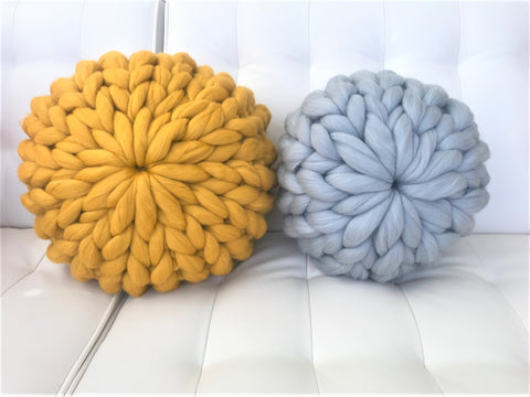 DIY Hand Knit Kit for Round Pillow, Merino wool