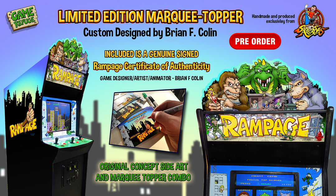 Rampage Full Cabinet Topper Marquee And Side Art Kit Szabo S