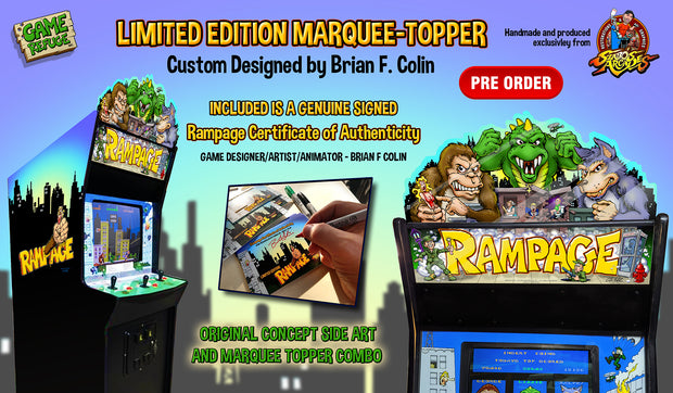 Rampage Full cabinet Topper, Marquee and side art Kit