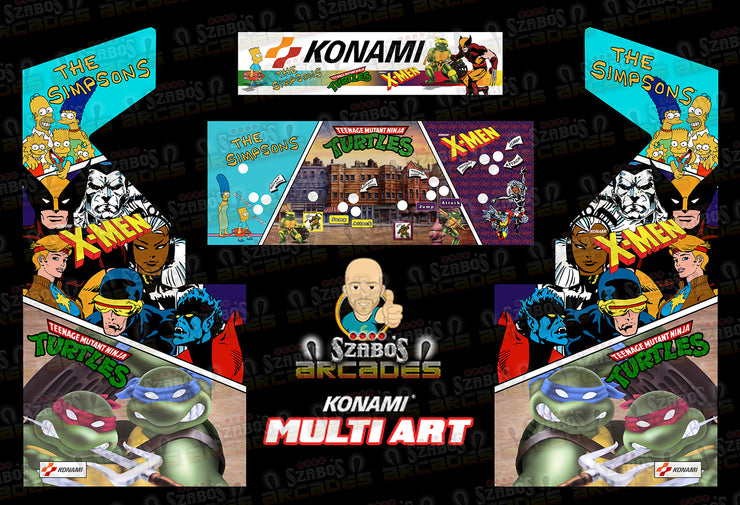 Custom Konami Multi Art-Simpsons, X-Men & TMNT-Side Art