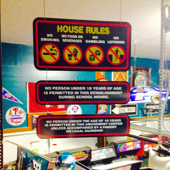 Reproduction House Rules Signs
