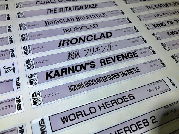 MVS reproduction cartridge labels