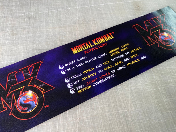 Mortal Kombat 3 instruction bezel decal