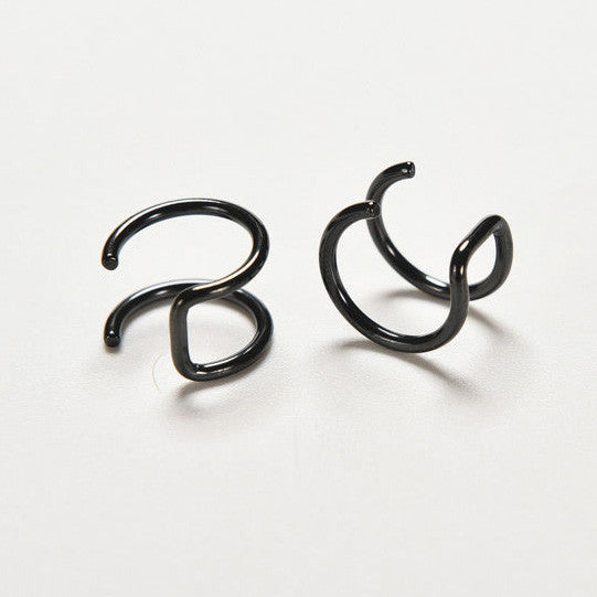 Black Double Helix Ear Cuff - No Piercing Needed!