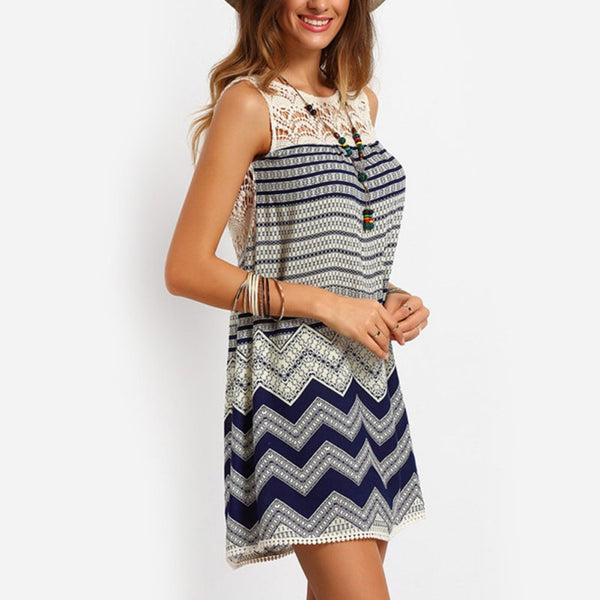 Blue Chevron & Lace Boho Dress