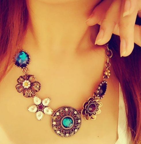 Cute Flower Child Boho Turquoise and Crystal Bronze Necklace