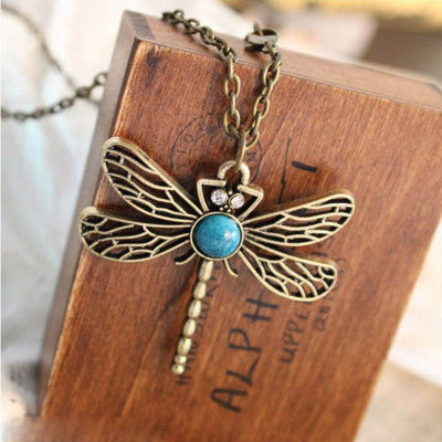 Gorgeous Dragonfly Boho Bronze & Turquoise Necklace