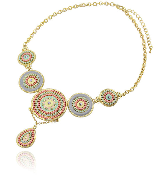 Pastel Bead Boho Statement Necklace