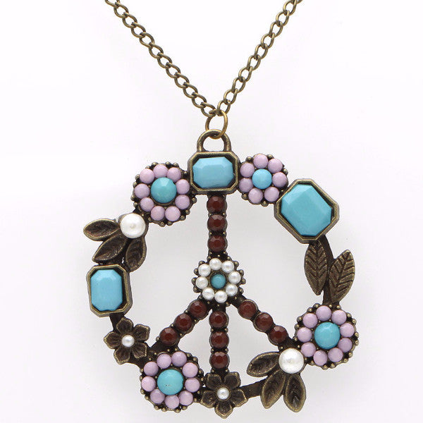 Retro Hippy Boho Style Peace Sign Necklace