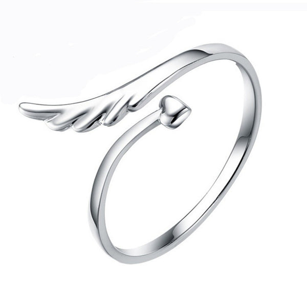 Stunning Angel Wing & Heart Ring (Silver)
