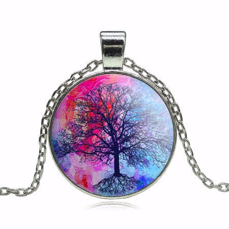 Tree Of Life Pendant Necklace - Purple/Pink
