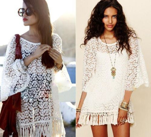 White Boho Floral Fringe Mini Dress With Slip