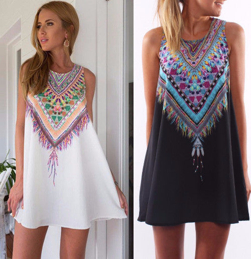 Boho Sun Dress - Aztec Feather Design