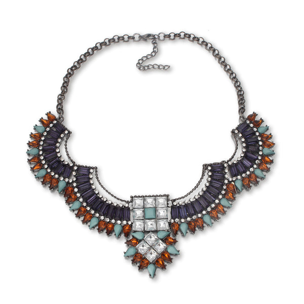 Chunky Boho Tribal Jewel Collar Necklace
