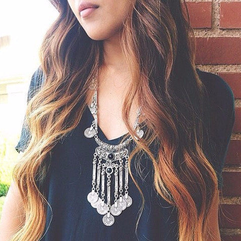 Vintage Boho Layered Tassel Necklace