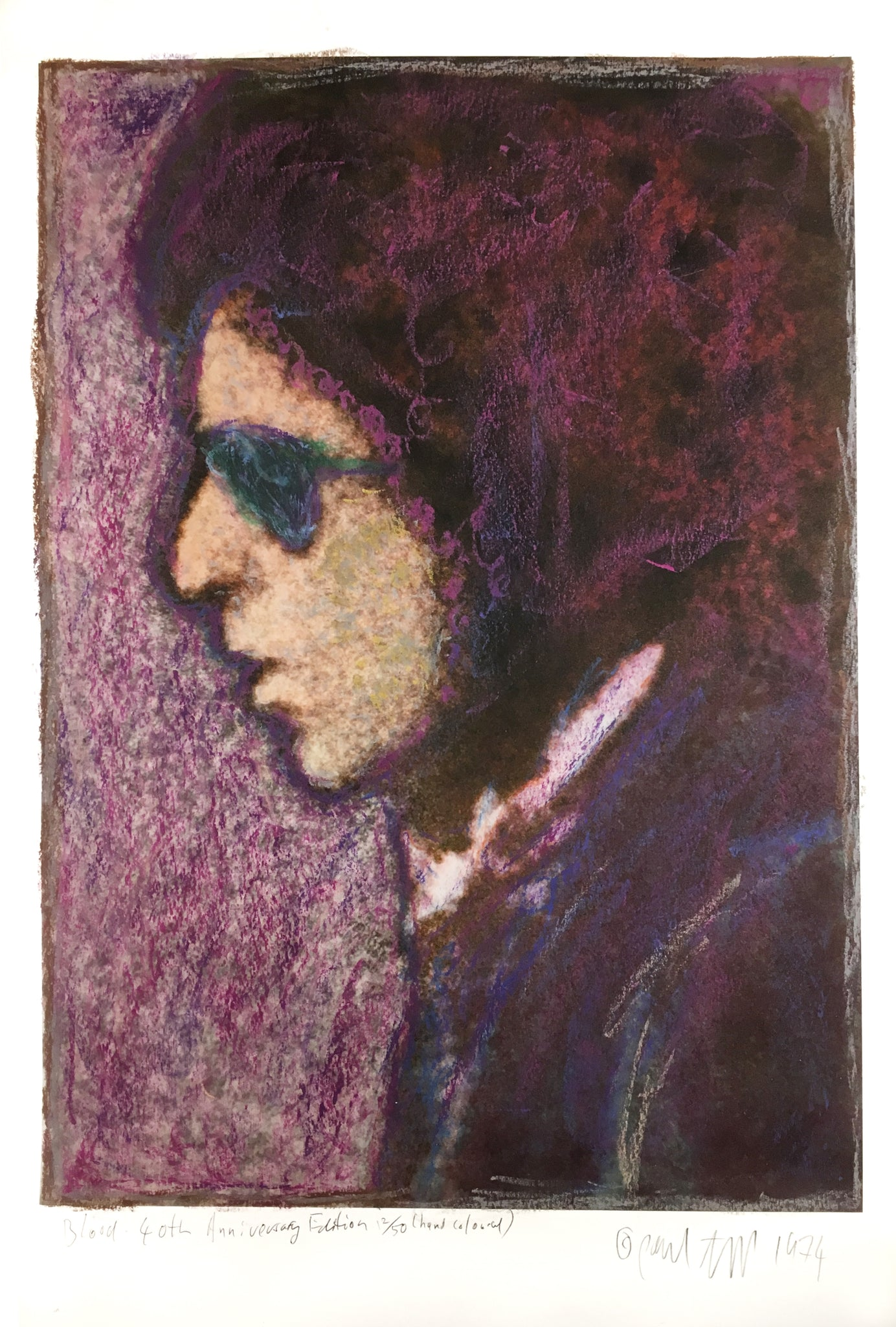 Copy of Bob Dylan, Blood on the Tracks, 40th Anniversary,        hand coloured 13X17 Digital Print 12/50