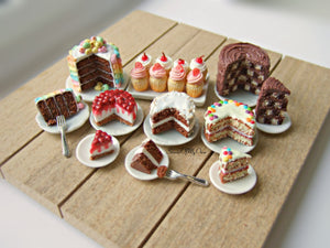 MTO - Chocolate Checkerboard Cake Miniature - Doll House 1:12 Scale - SweetsOfMyOwn