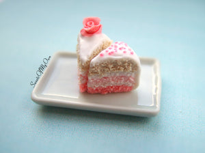 Pink Rose Cake Slice - Charm/Necklace - MTO