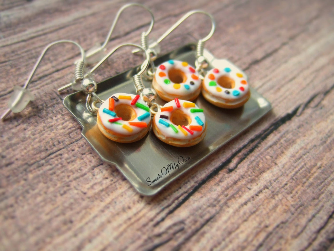White Donuts - Dangle Earrings - MTO