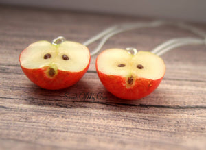 Red Apple Halves BFF Set - Charms/Necklaces/Keychains - MTO