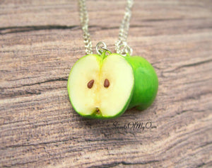 Green Apple Halves BFF Set - Charms/Necklaces/Keychains - MTO