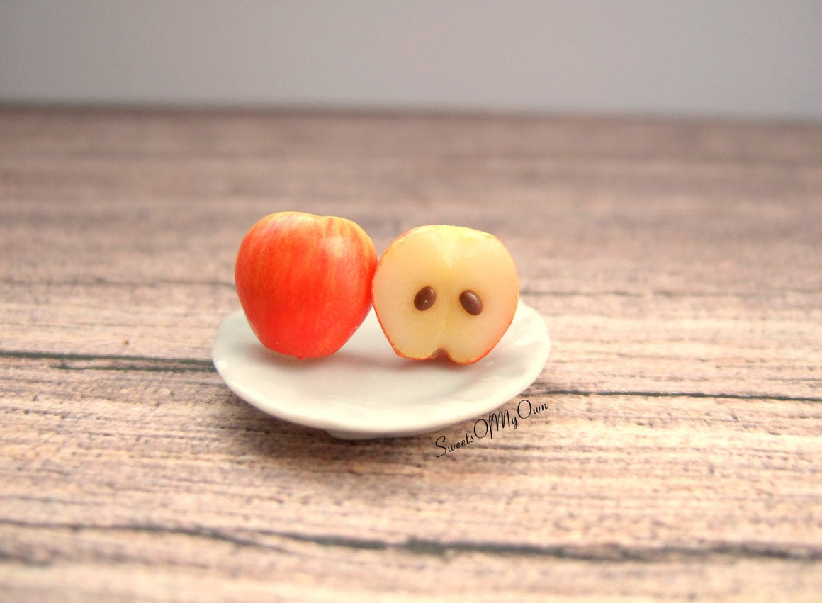 Red Apple Halves - Stud Earrings - MTO