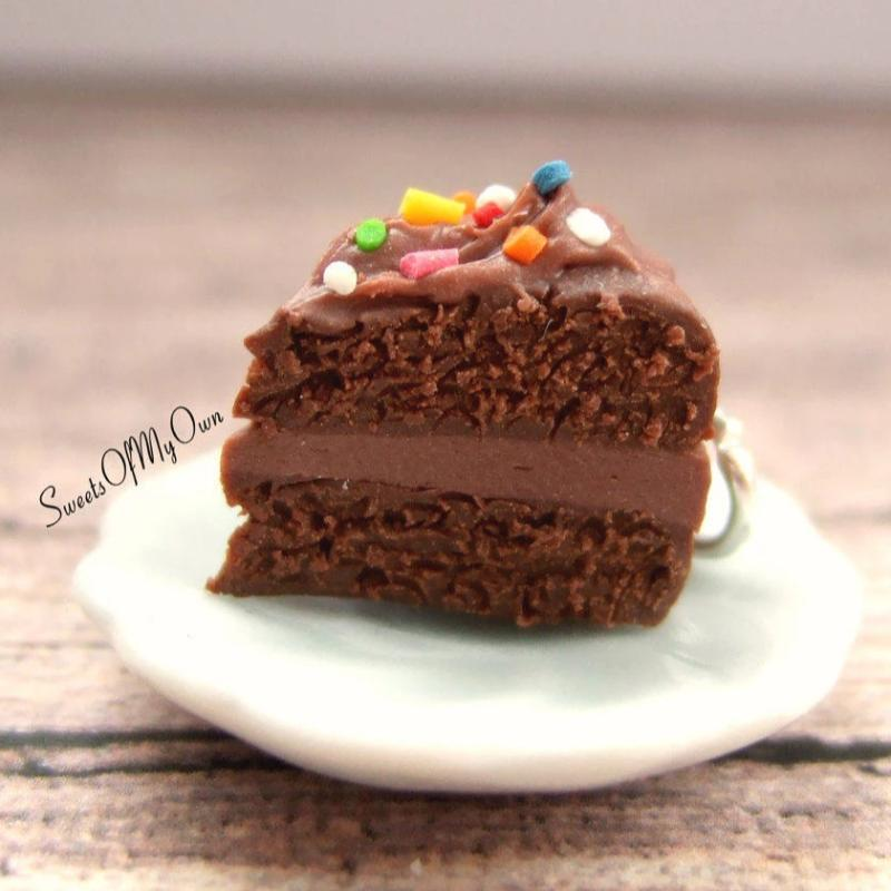 Chocolate Cake with Sprinkles Charm - SweetsOfMyOwn