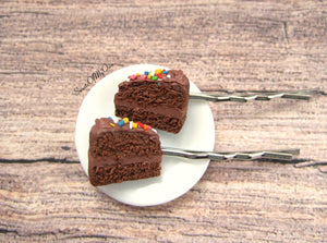 Chocolate Cake with Sprinkles - Hair Clip - MTO