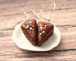 Chocolate Cake with Sprinkles - Dangle Earrings - SweetsOfMyOwn
