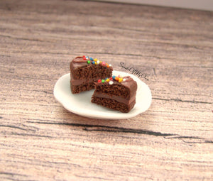 Chocolate Cake with Sprinkles Slice - Stud Earrings - MTO