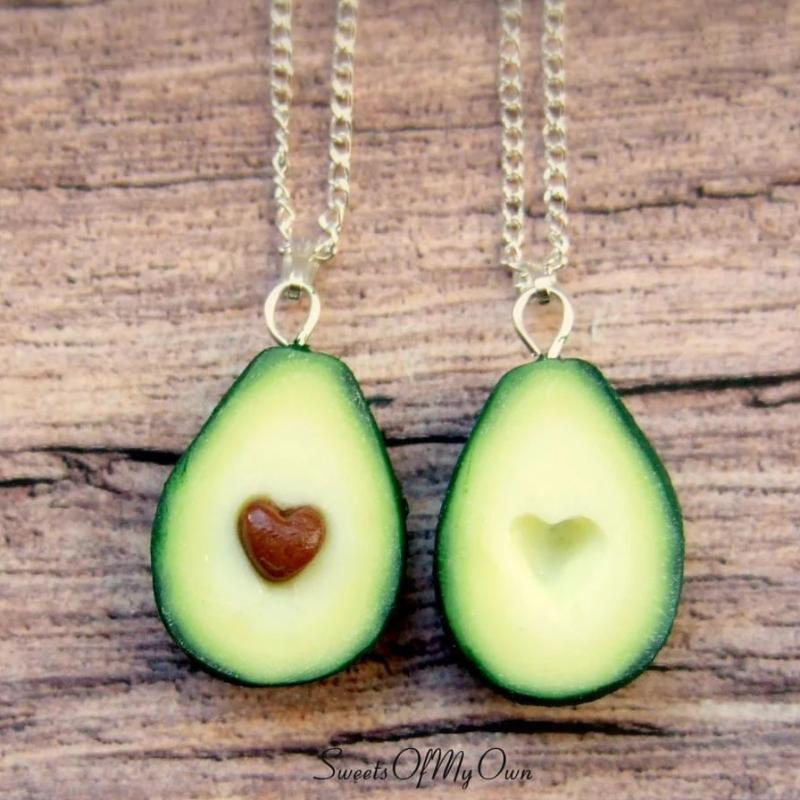 Avocado Heart BFF Charms - Set of 2 Halves - SweetsOfMyOwn