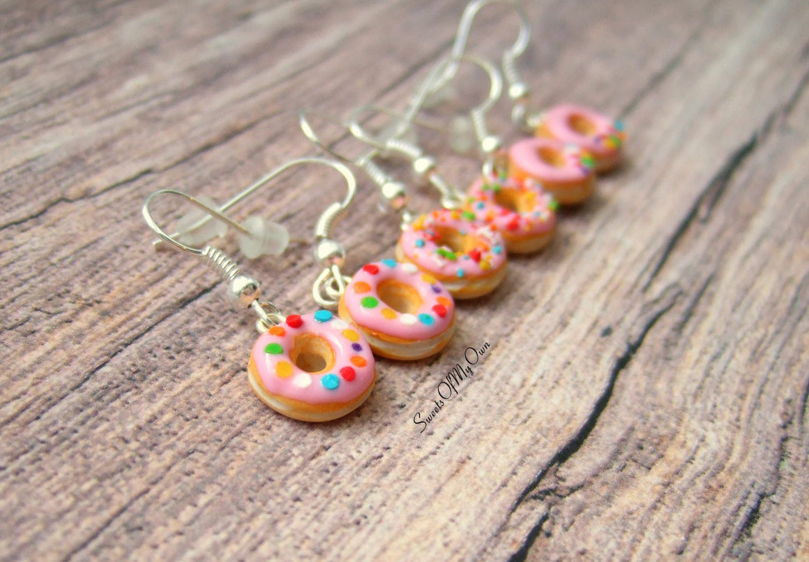 Pink Donuts - Dangle Earrings - MTO