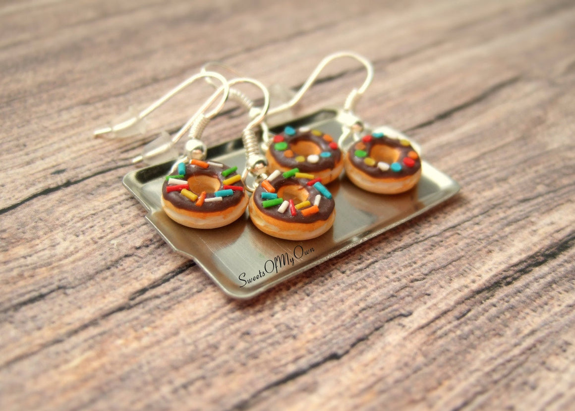 Chocolate Donuts Dangle Earrings - Choose your Style - MTO