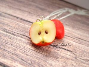 Red Apple Half Charm - Necklace/Charm/Keychain - MTO