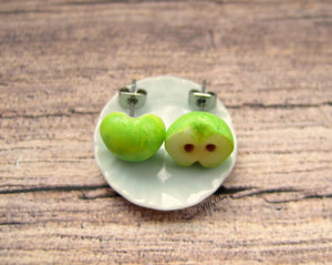 Green Apple Halves - Stud Earrings - MTO