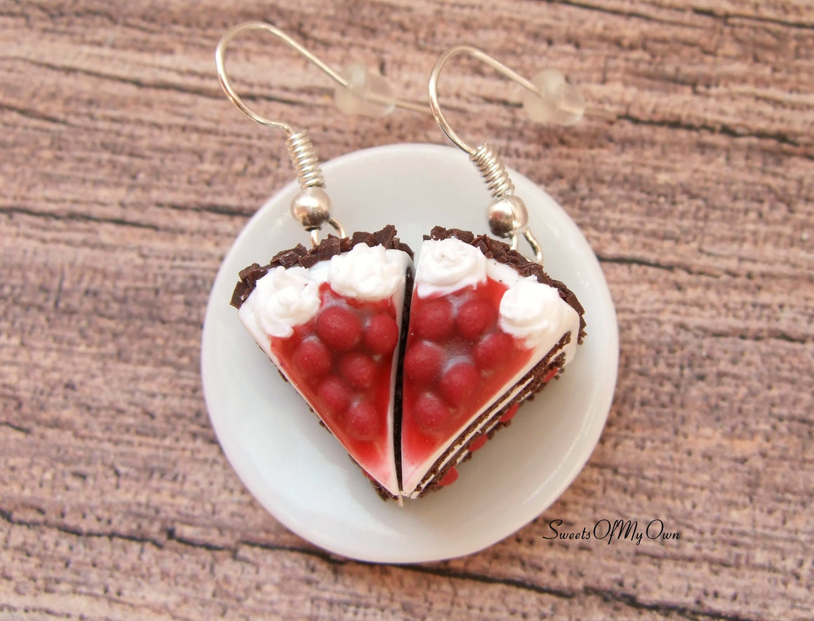 Black Forest Gateau Cake Slice - Dangle Earrings - MTO