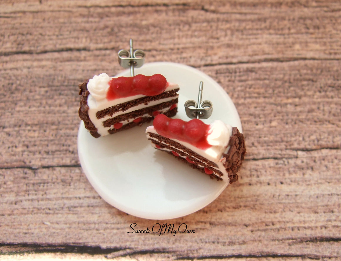 Black Forest Gateau Cake Slice - Stud Earrings - MTO