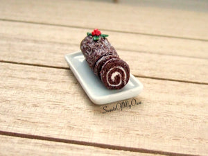 Chocolate Yule Log - Miniature 1:12 Scale