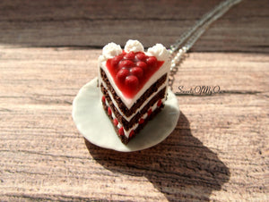Black Forest Gateau Cake Charm - Necklace/Charm/Keychain - MTO