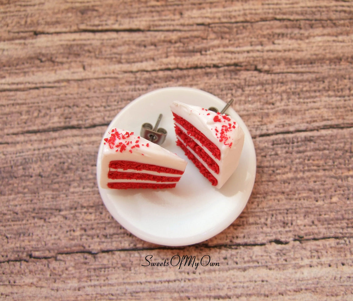 Red Velvet Cake Slice - Stud Earrings - MTO