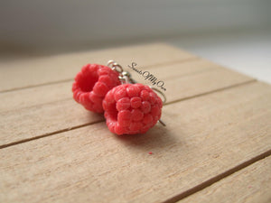 Raspberry Dangle Earrings - MTO