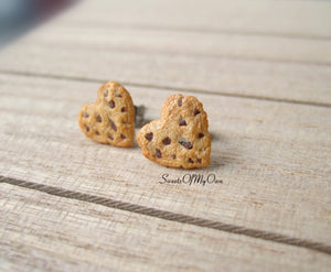 Heart Chocolate Chip Cookies - Stud Earrings - MTO