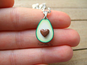 Avocado Heart Necklaces - BFF Set  - 1.5cm in size.