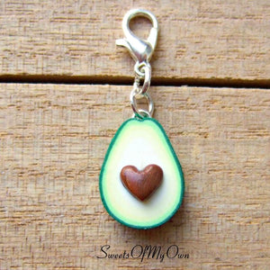 Avocado Heart Charm - 1.5cm in size.
