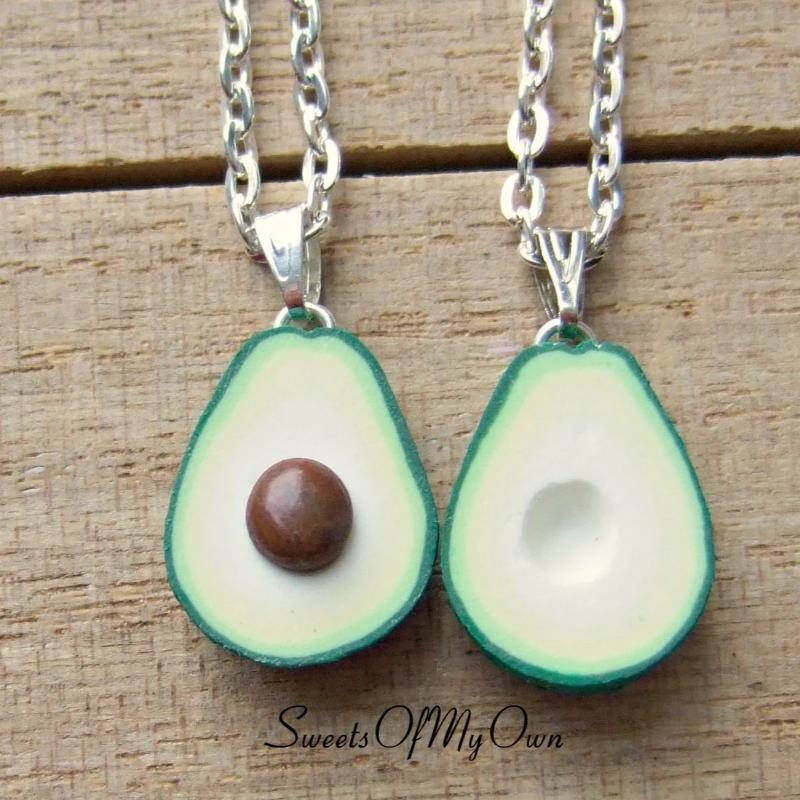 Avocado BFF Charms 1.5cm in size - Set of 2 Halves - SweetsOfMyOwn