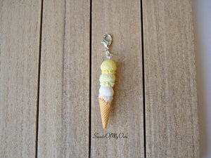Lemon Triple Scoop Ice Cream Cone Charm - SweetsOfMyOwn