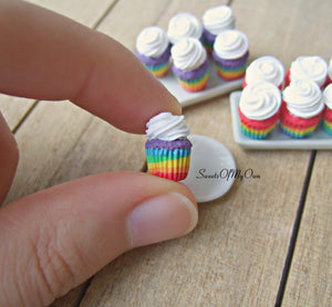 Rainbow Cupcakes Miniature 1:12 Scale - SweetsOfMyOwn