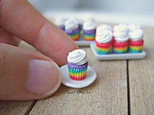 Rainbow Cupcakes Miniature 1:12 Scale