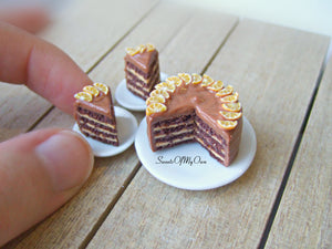 Chocolate Orange Cake Miniature - Dolls House Miniature